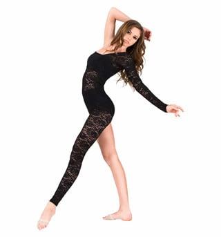 Adult Lace Asymmetrical Long Sleeve Unitard - Style No N7165