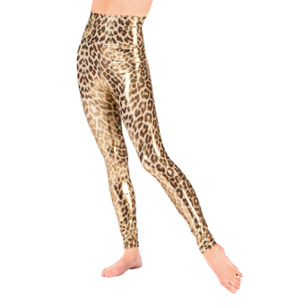 Adult Gold High Waist Leopard Leggings - Style No N7189