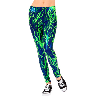 Girls Lime Lightning Bolt Legging - Style No N7192C