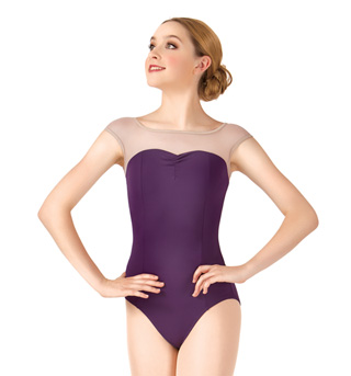 Adult Cap Sleeve Mesh Yoke Leotard - Style No N8601