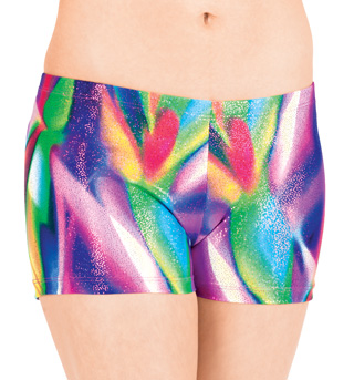 Child Metallic Foil Print Dance Short - Style No N8646C