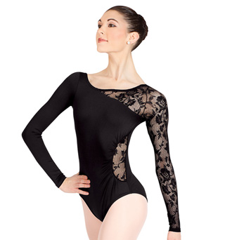 Adult Long Sleeve Leotard with Lace Sleeve and Insert - Style No N8650