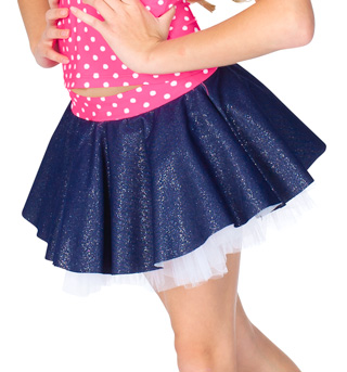 Child Sparkle Denim & Tulle Skirt with Attached Short - Style No N8696C
