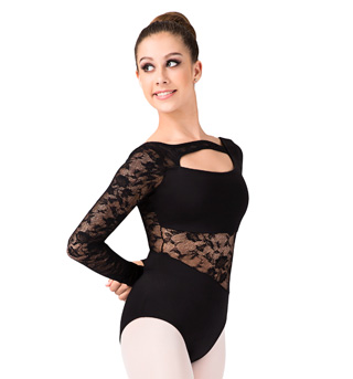 Long Sleeve Lace Cut Out Leotard - Style No N8775