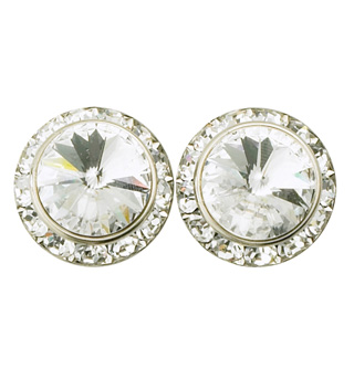 15mm Pierced Crystal Earrings - Style No RU048
