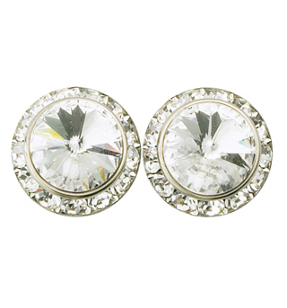 15mm Clip-On Crystal Earrings - Style No RU058