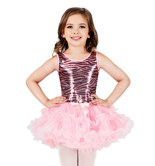 Child Zebra Sequin Tutu Dress - Style No SK723S