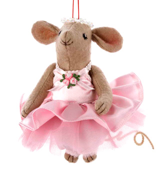 Fabric Ballet Mouse Ornament - Style No T0791x