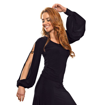 Ladies Long Sleeve Slit Sleeved Top - Style No T409