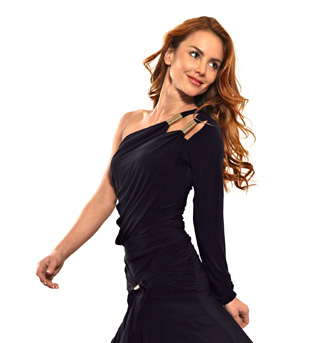 Ladies One Shoulder Long Sleeve Top - Style No T415
