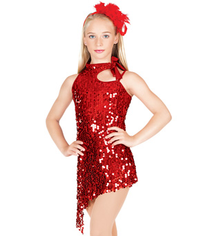 Red Hot Child Asymmetrical Sequin Dress - Style No TH5005C