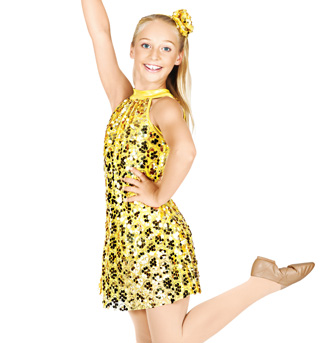 Heart of Gold Child Sequin Overdress and Shorty Unitard - Style No TH5009C