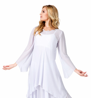 Plus Size Worship Long Sleeve White Tunic - Style No WC101PWHT