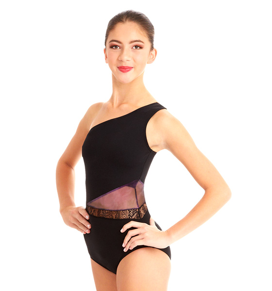 A mock neck leotard with black power stretch mesh sleeves. Wear it during practice, layer with a variety of bottoms, and add rhinest one s for an extra sparkle during a performance. Polyester, Spandex.
