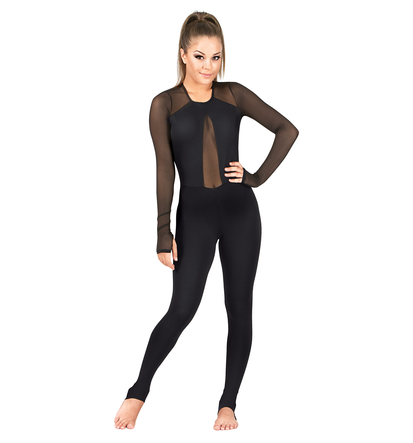 Plunging Powermesh V-Unitard - Unitards | DiscountDance.com