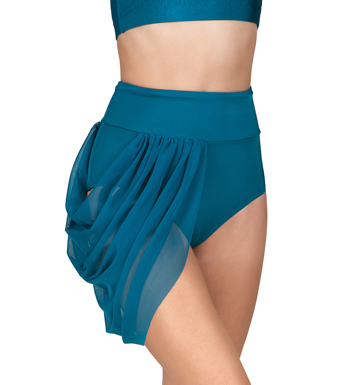Emballe High Waist Mesh Drape Brief - Shorts | DiscountDance.com