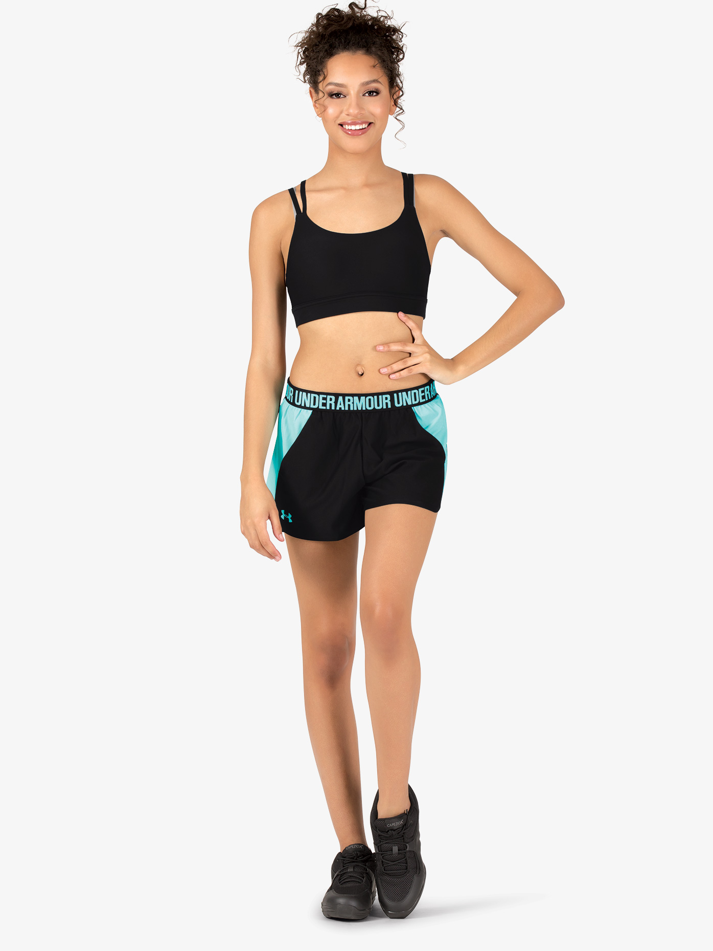 Under Armour Womens Play Up 2.0 Logo Waistband Athletic Shorts 1292231