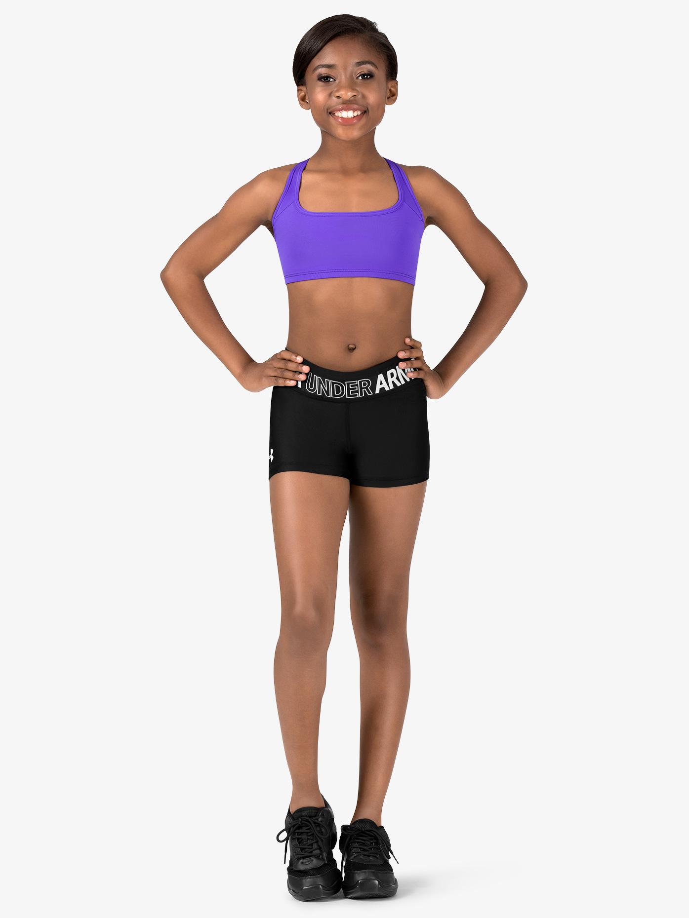 Under Armour Girls Logo Print Waistband Running Shorts 1305642