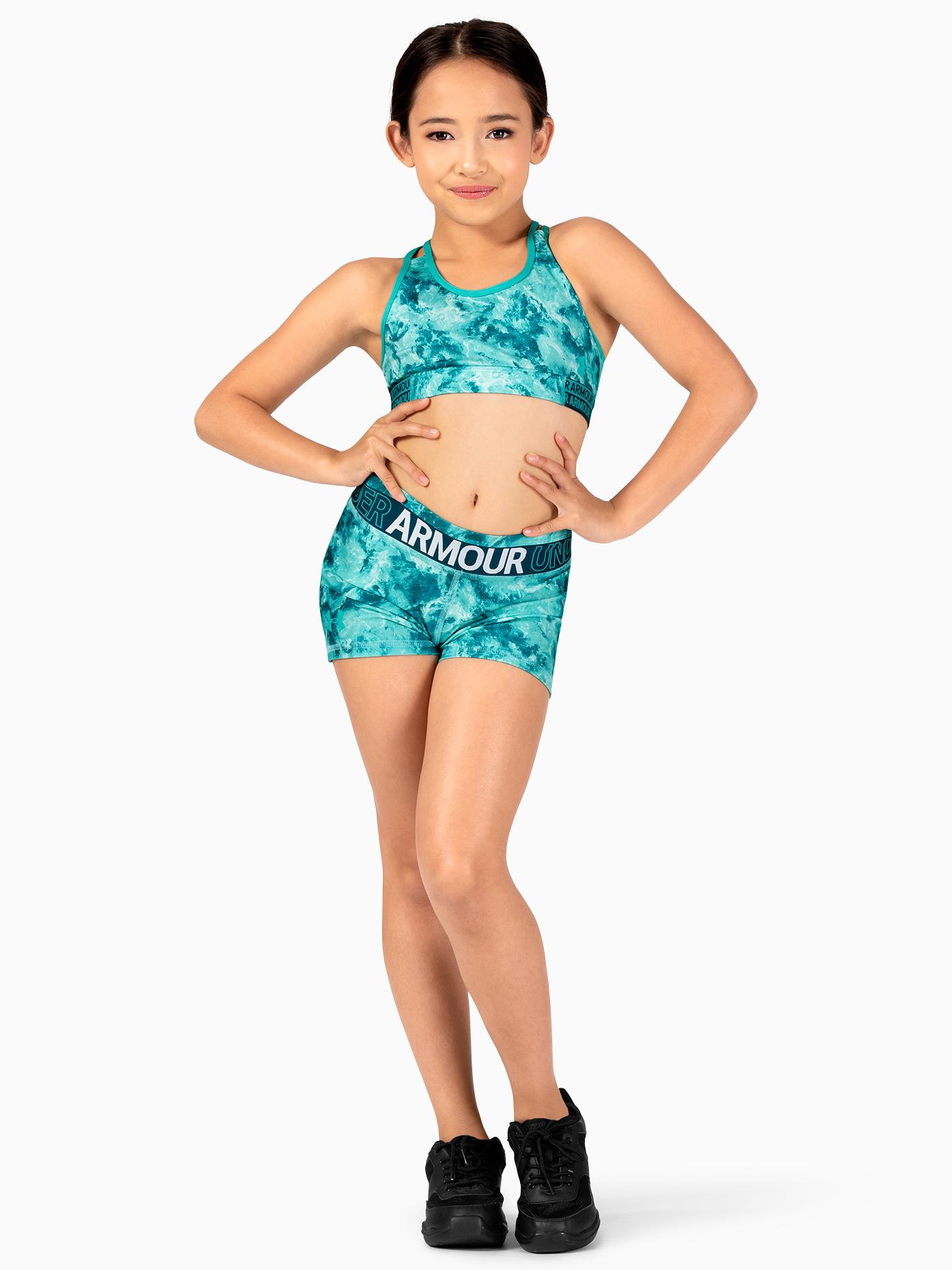 Under Armour Girls HeatGear Graphic Print Running Shorts 1305643