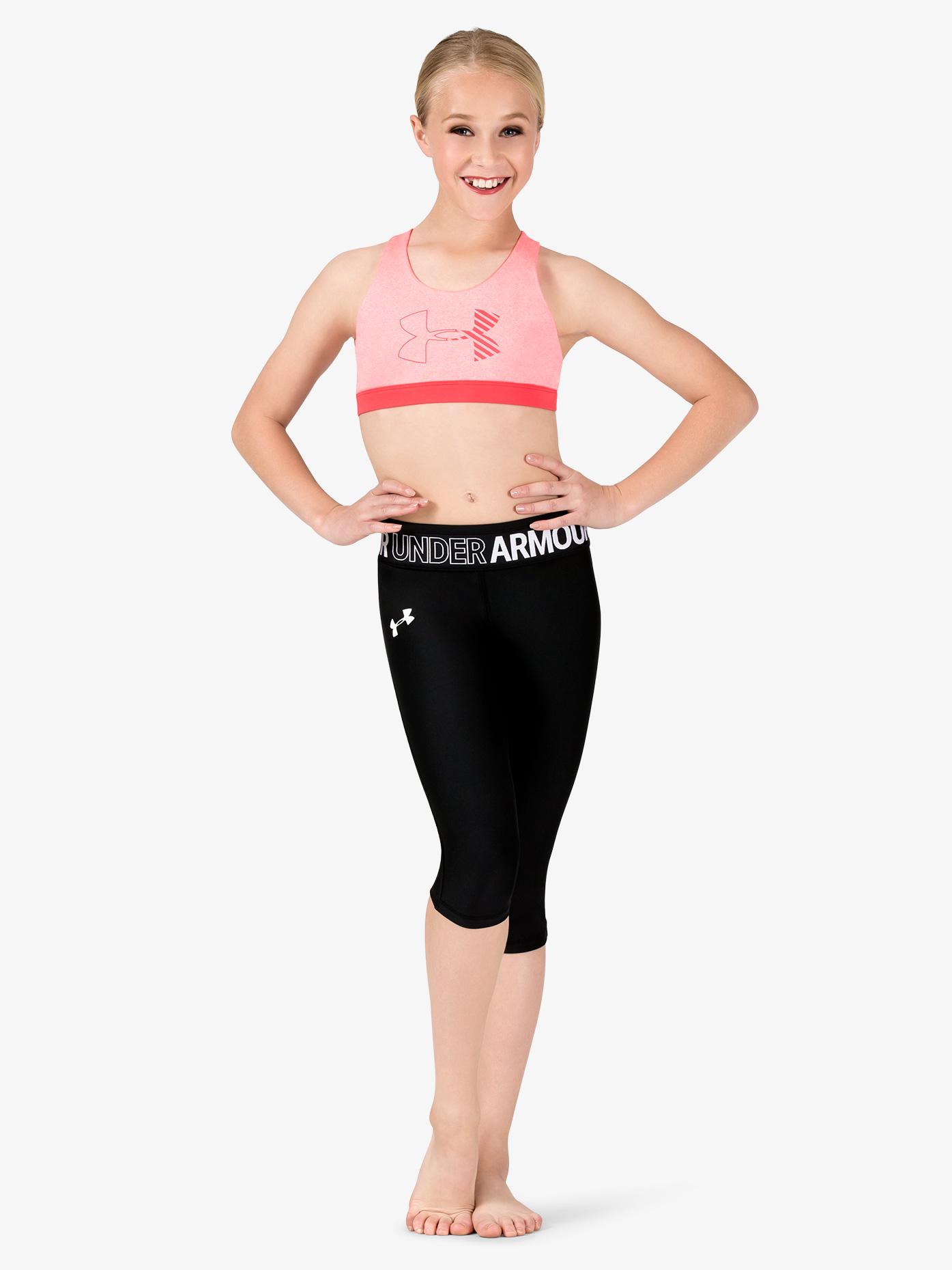 Under Armour Girls Workout Logo Print Waistband Capri Leggings 1305644
