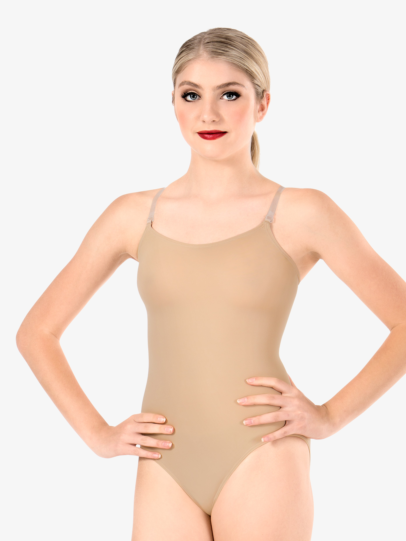 Body Wrappers Adult Camisole Leotard with See-Through Straps 266