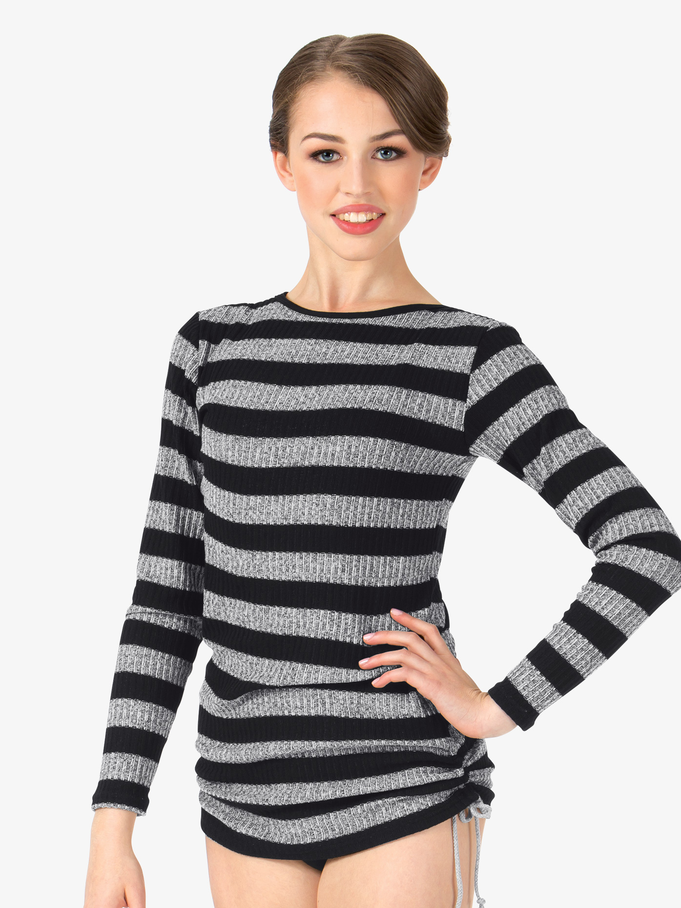 Body Wrappers Adult Striped Knit Boatneck Warm Up Top 5170