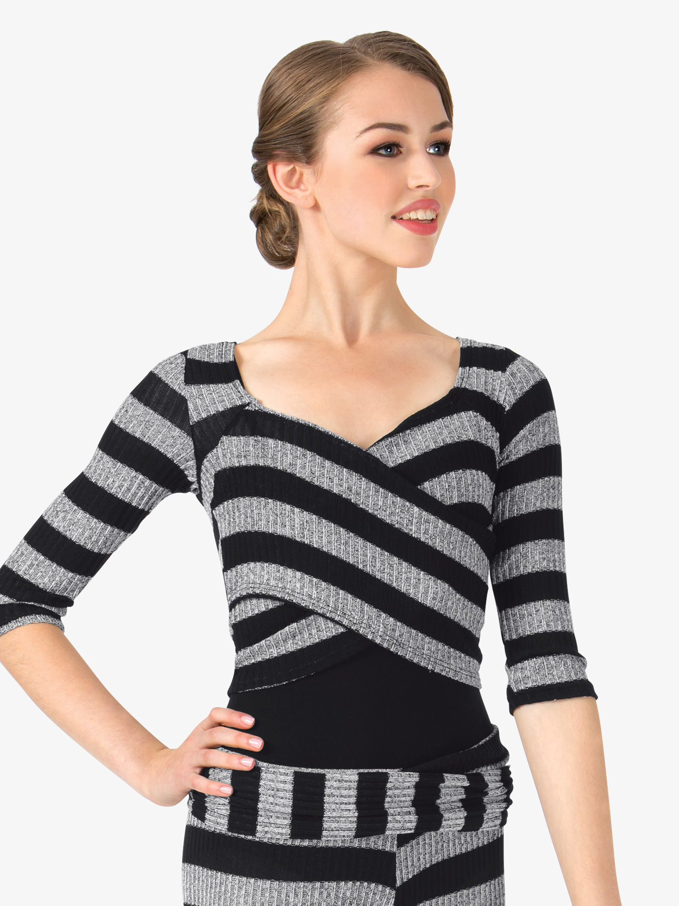 Body Wrappers Adult Striped Knit Wrap Front Warm Up Top 5173