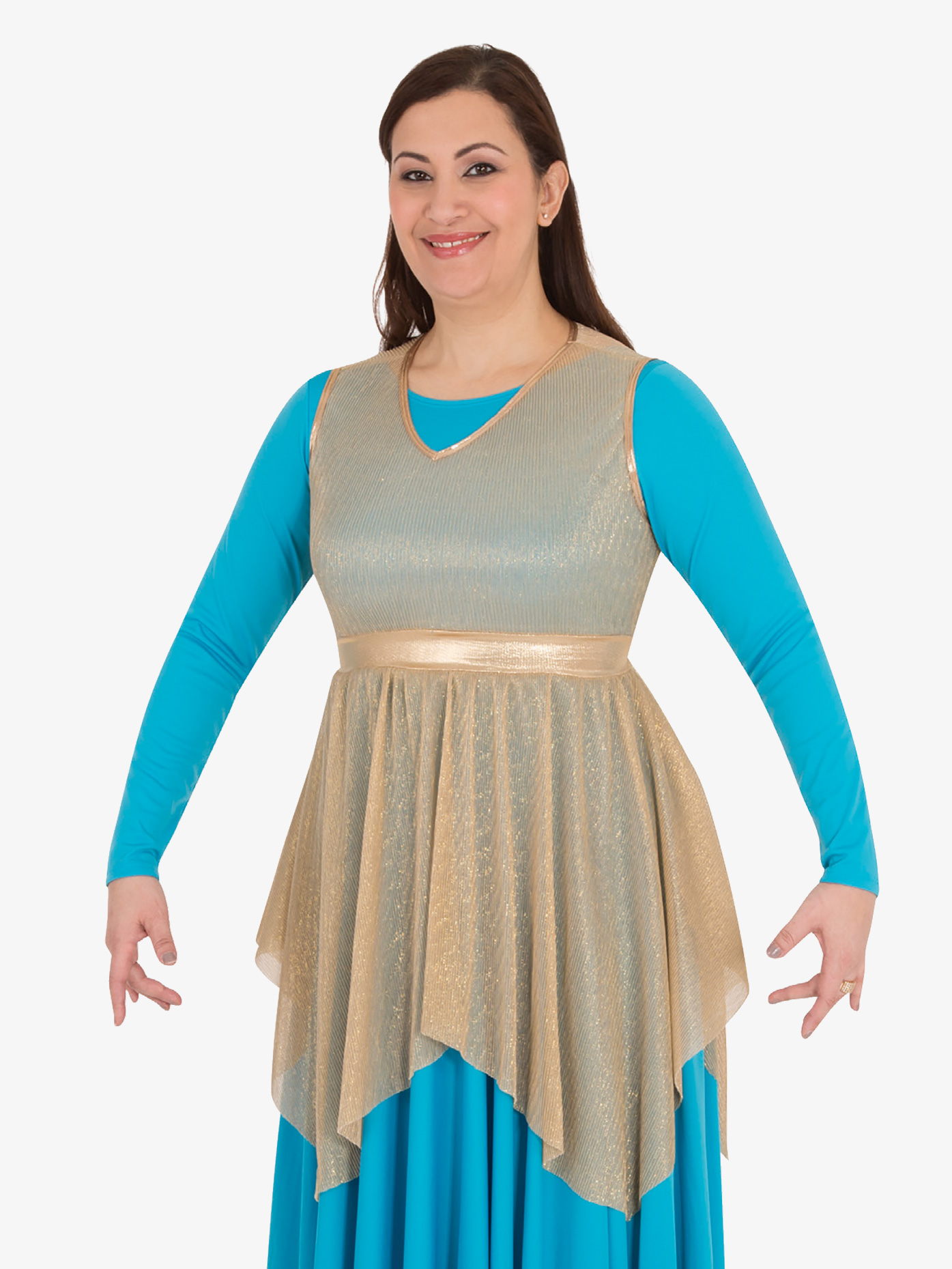Body Wrappers Womens Plus Metallic Micro Pleated Worship Tunic BW682XX