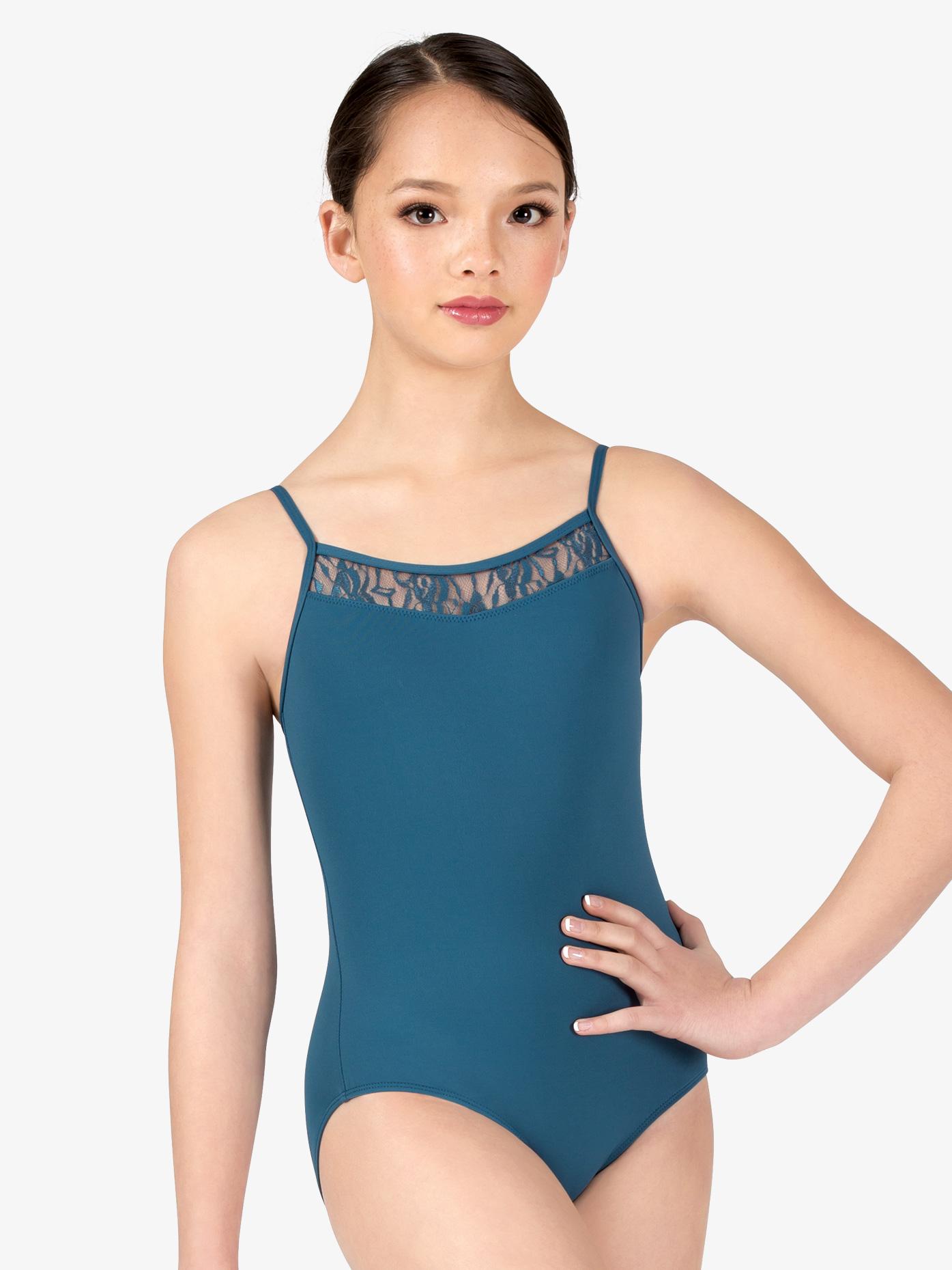 Danznmotion Girls Swirl Lace V-Front Camisole Leotard D2730C
