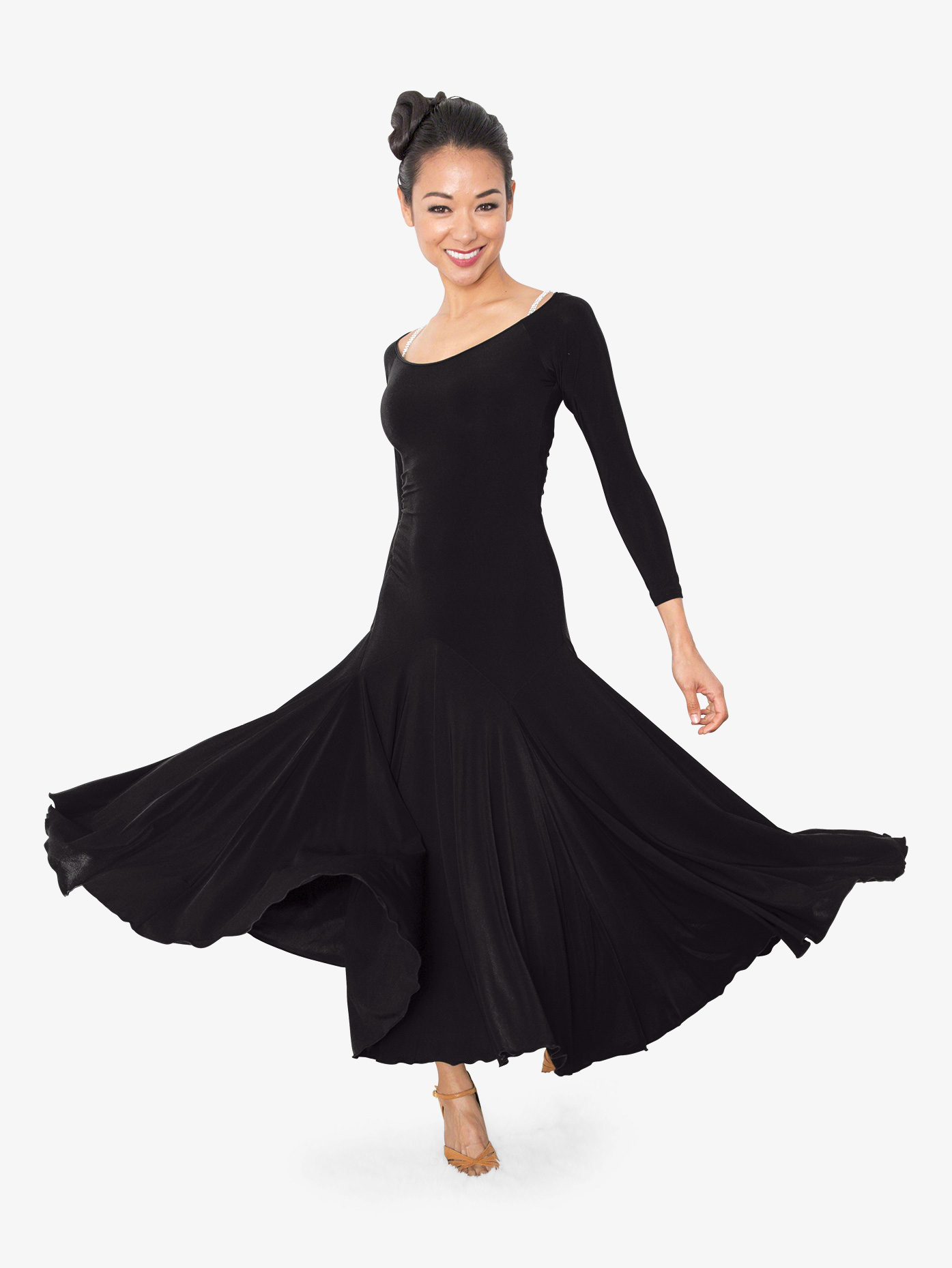 Dance America Womens Back Cutout Long Ballroom Dance Dress D803