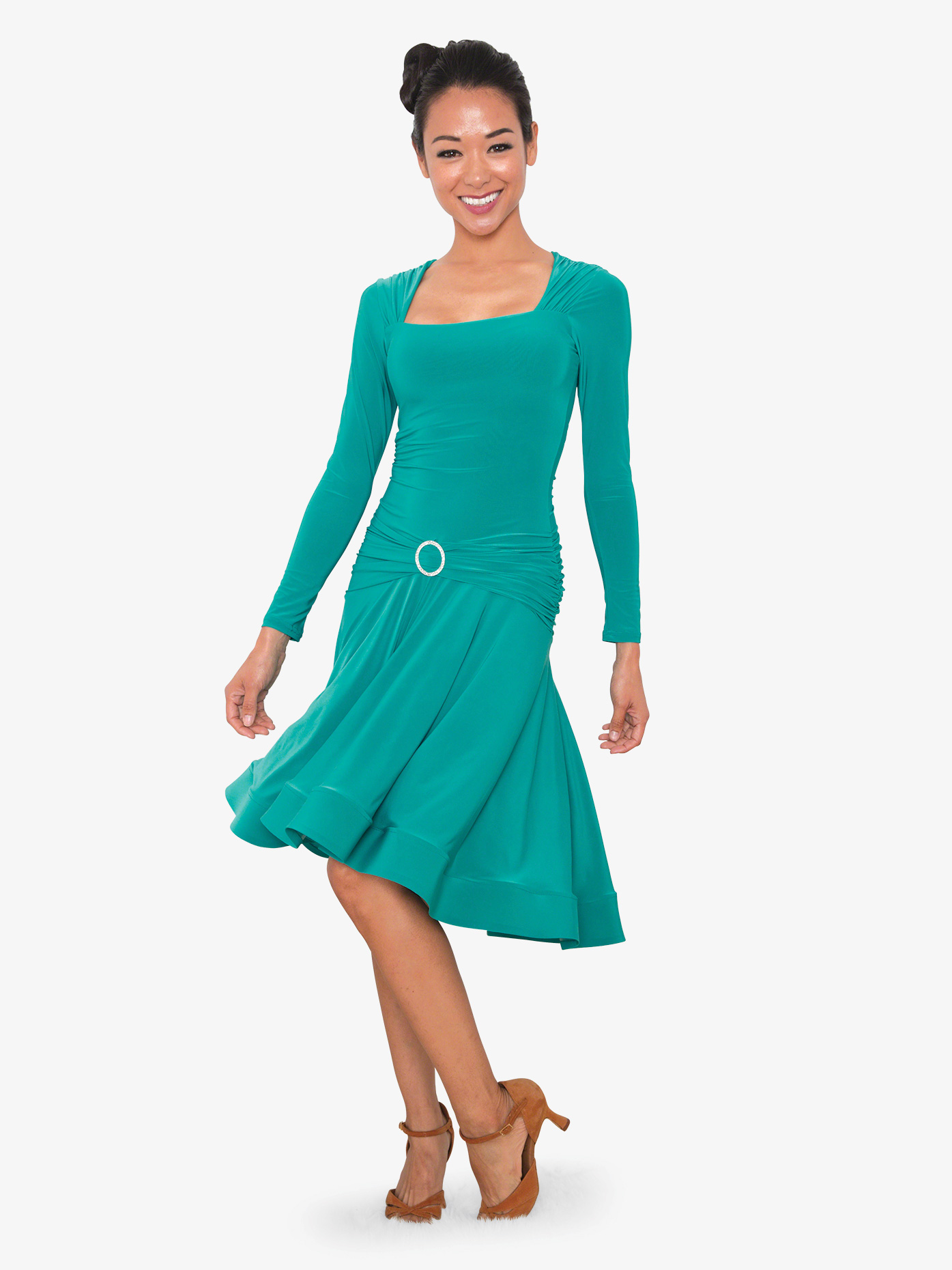 Dance America Womens Square Front Short Ballroom Dance Dress D809