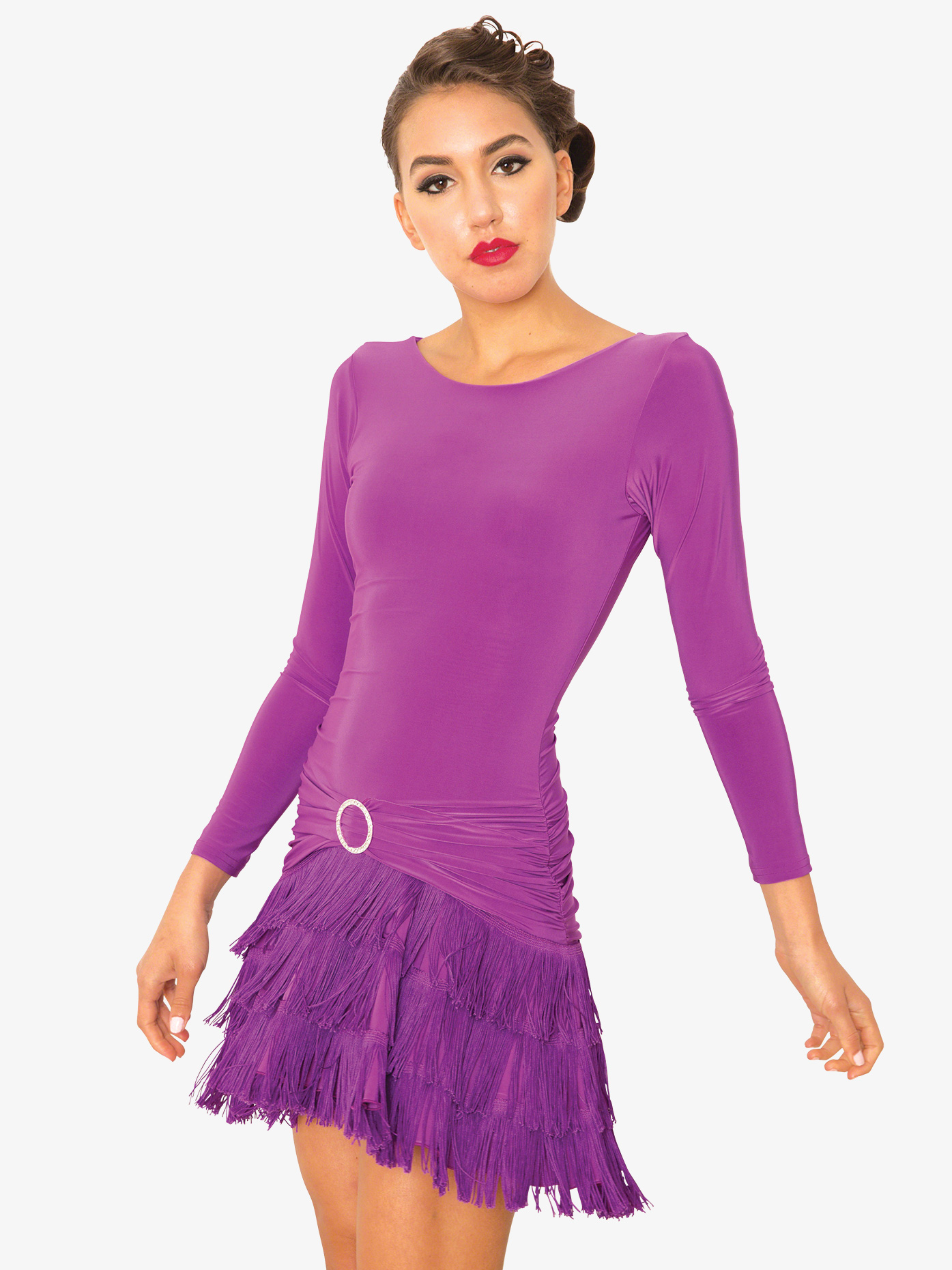 Dance America Womens Fringe Long Sleeve Ballroom Dance Dress D812