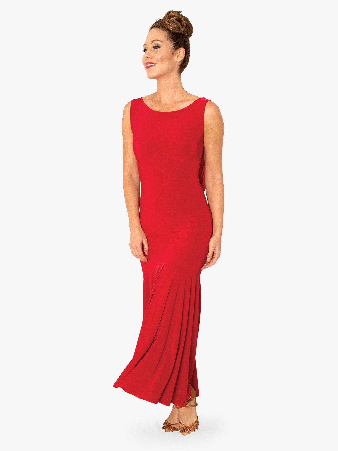 Dance America Womens Draped Lace Back Long Ballroom Dance Dress D813