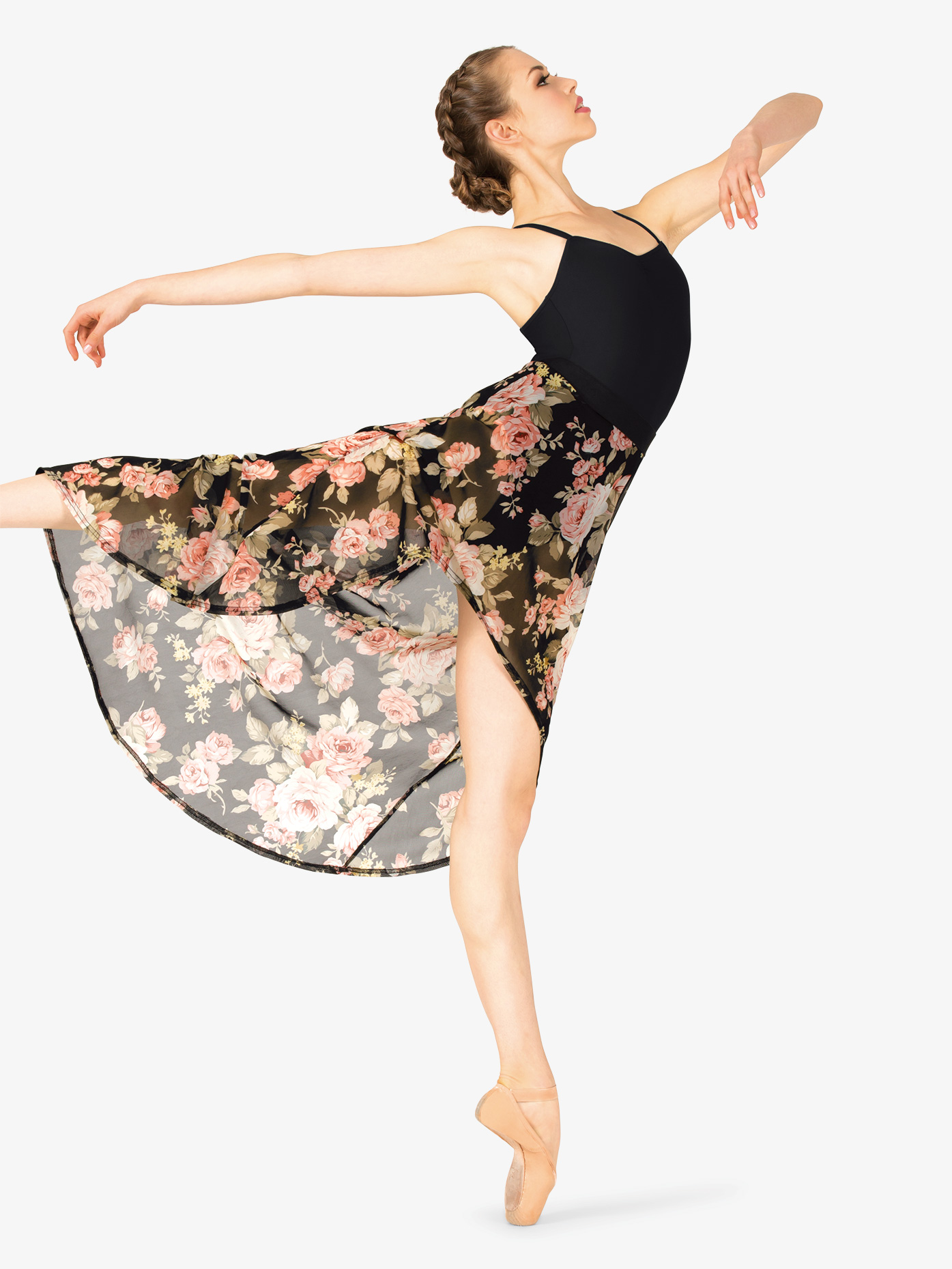 Double Platinum Womens High Low Floral Dance Skirt DJ1221