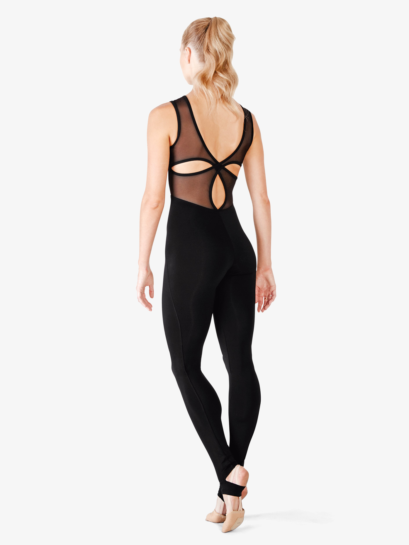 Bloch Womens Mesh Cross Back Long Tank Unitard FM5018