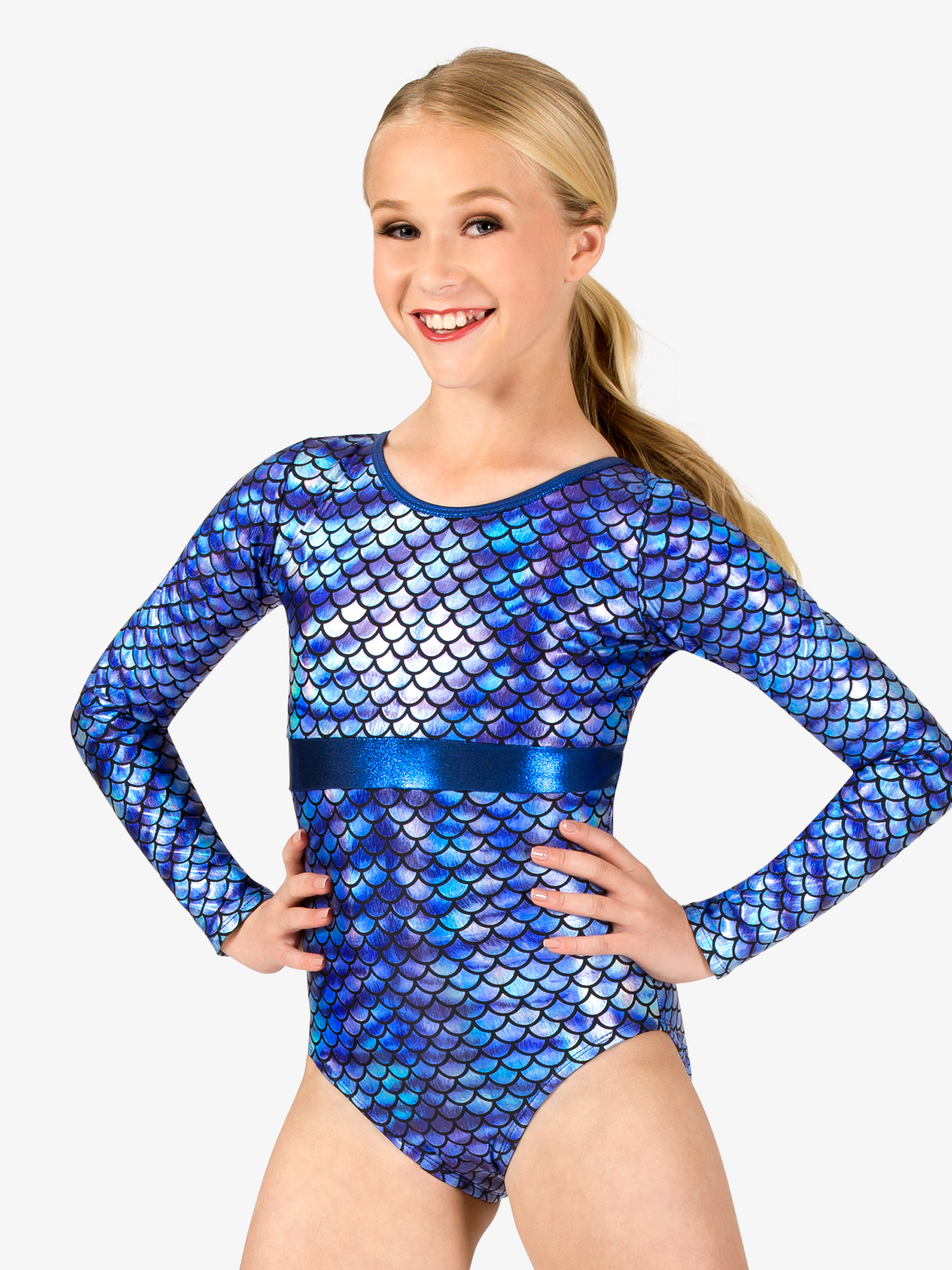 Perfect Balance Girls Gymnastics Fish Scale Print Long Sleeve Leotard G691C