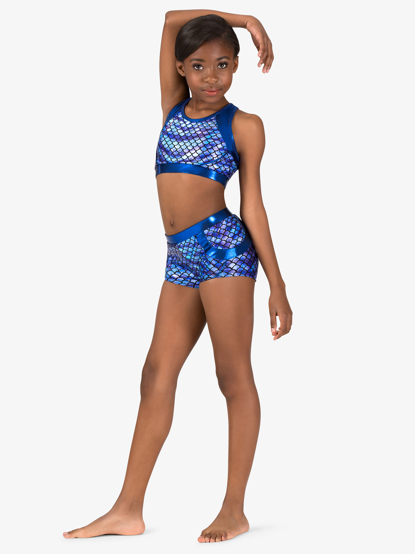 Perfect Balance Girls Gymnastics Fish Scale Print Shorts G694C