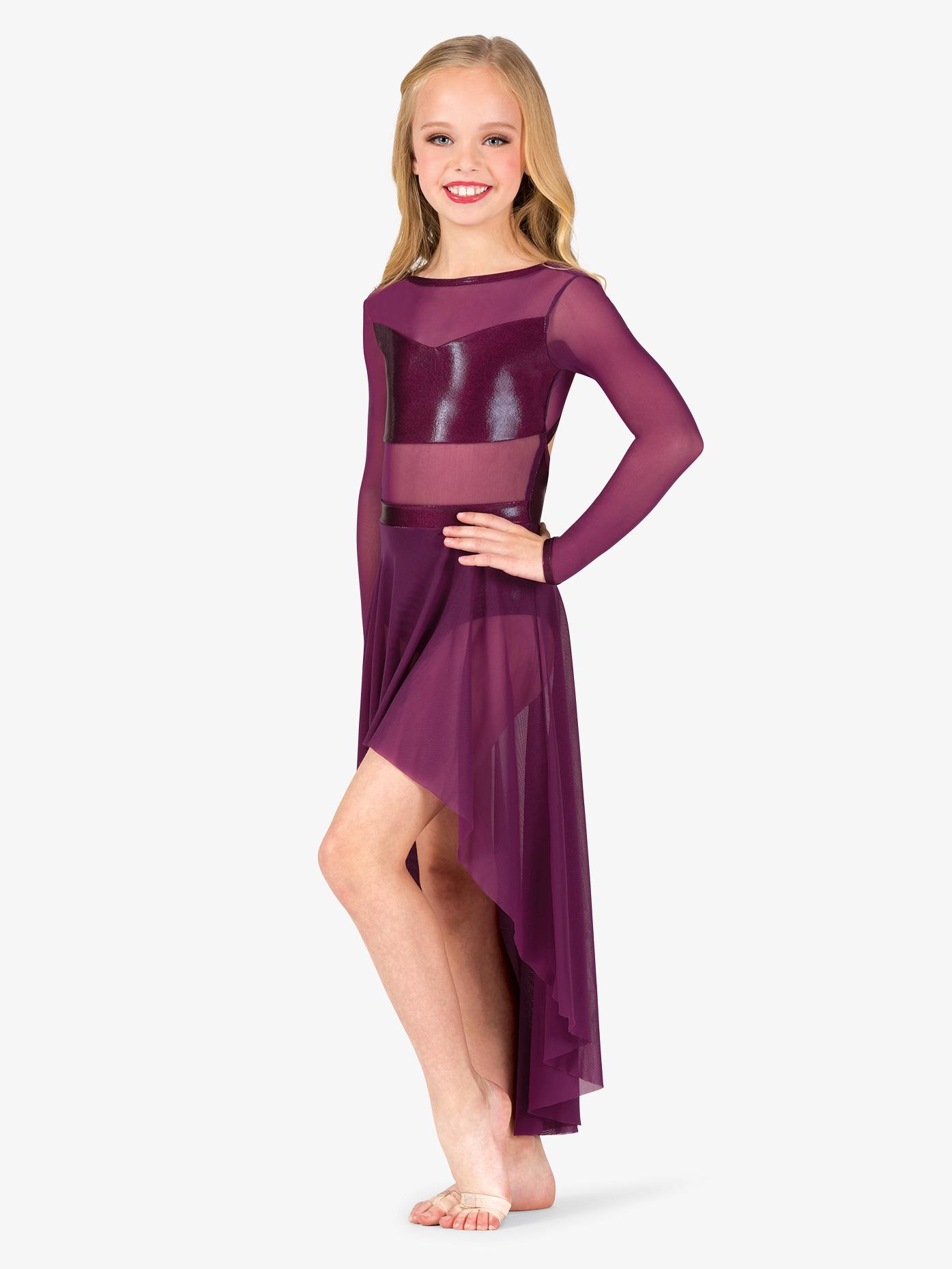 Ingenue Girls Performance Long Sleeve Metallic Mesh Dress ING160C