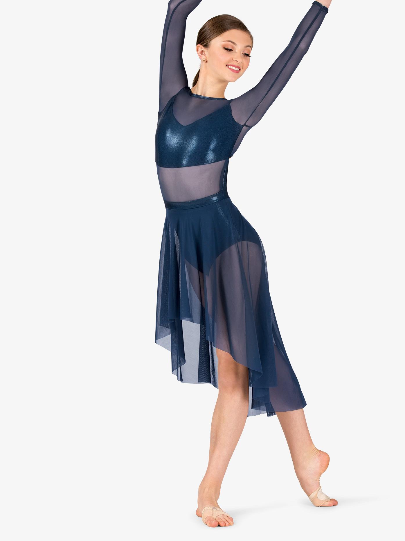 Ingenue Womens Performance Long Sleeve Metallic Mesh Dress ING160