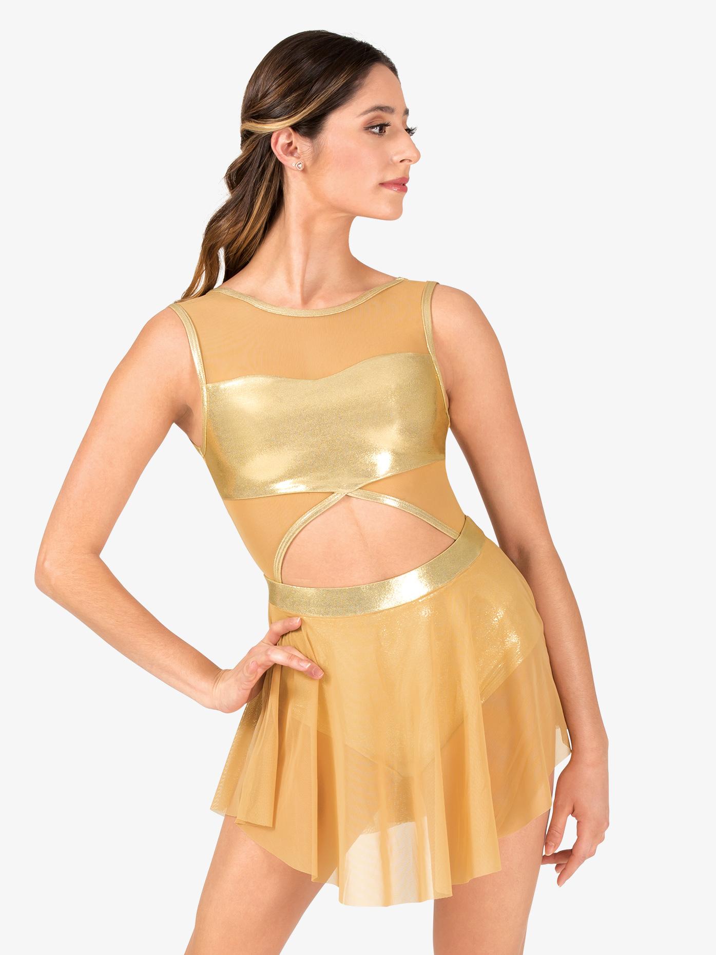 Ingenue Womens Performance Metallic Mesh Cutout Tank Dress ING161