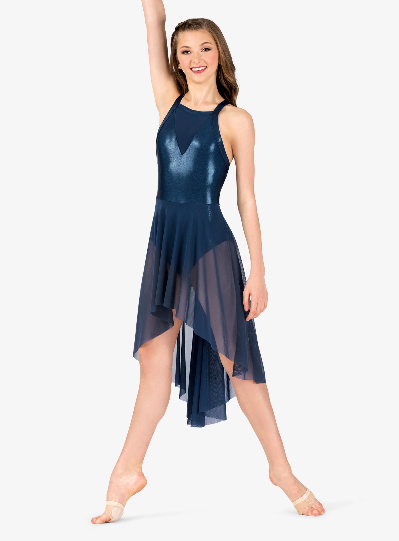Ingenue Womens Performance Mesh Front Metallic X-Back Dress ING162