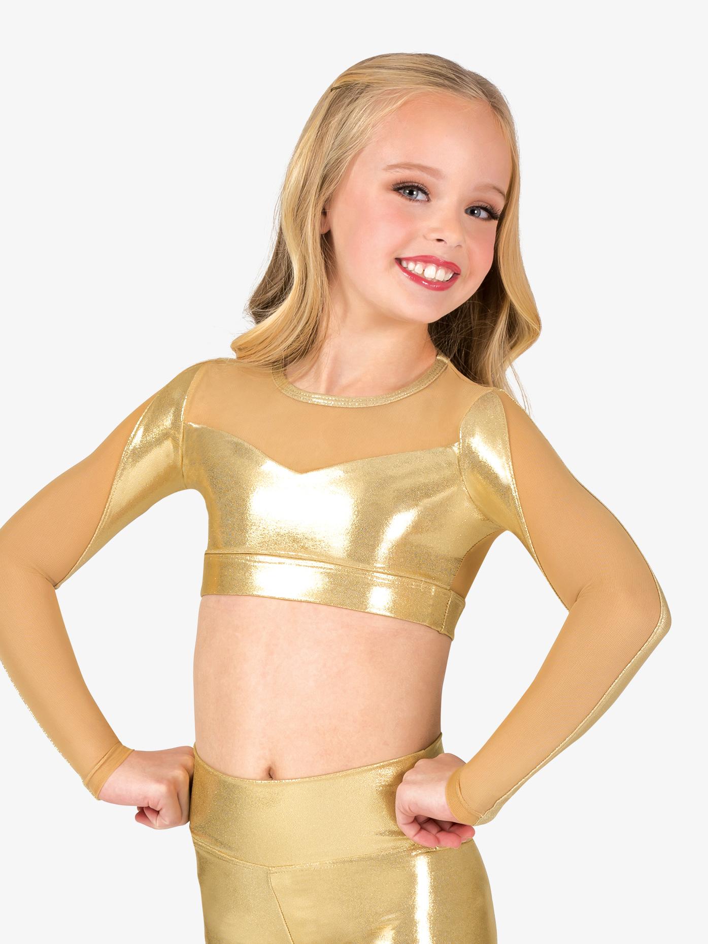 Ingenue Girls Performance Metallic Mesh Long Sleeve Crop Top ING163C