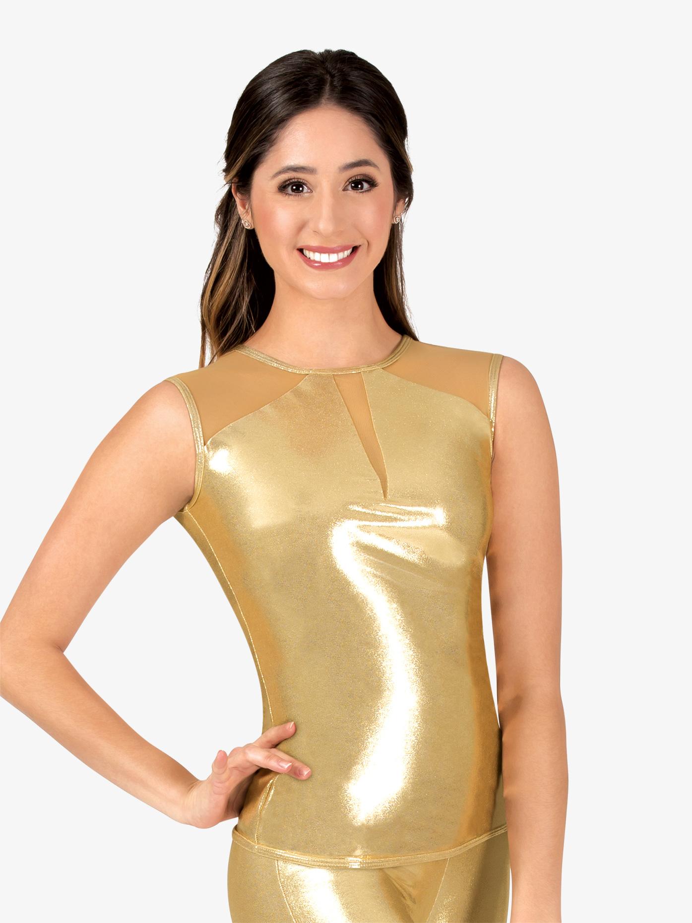 Ingenue Womens Performance Metallic Mesh Back Cut Out Cap Sleeve Top ING166