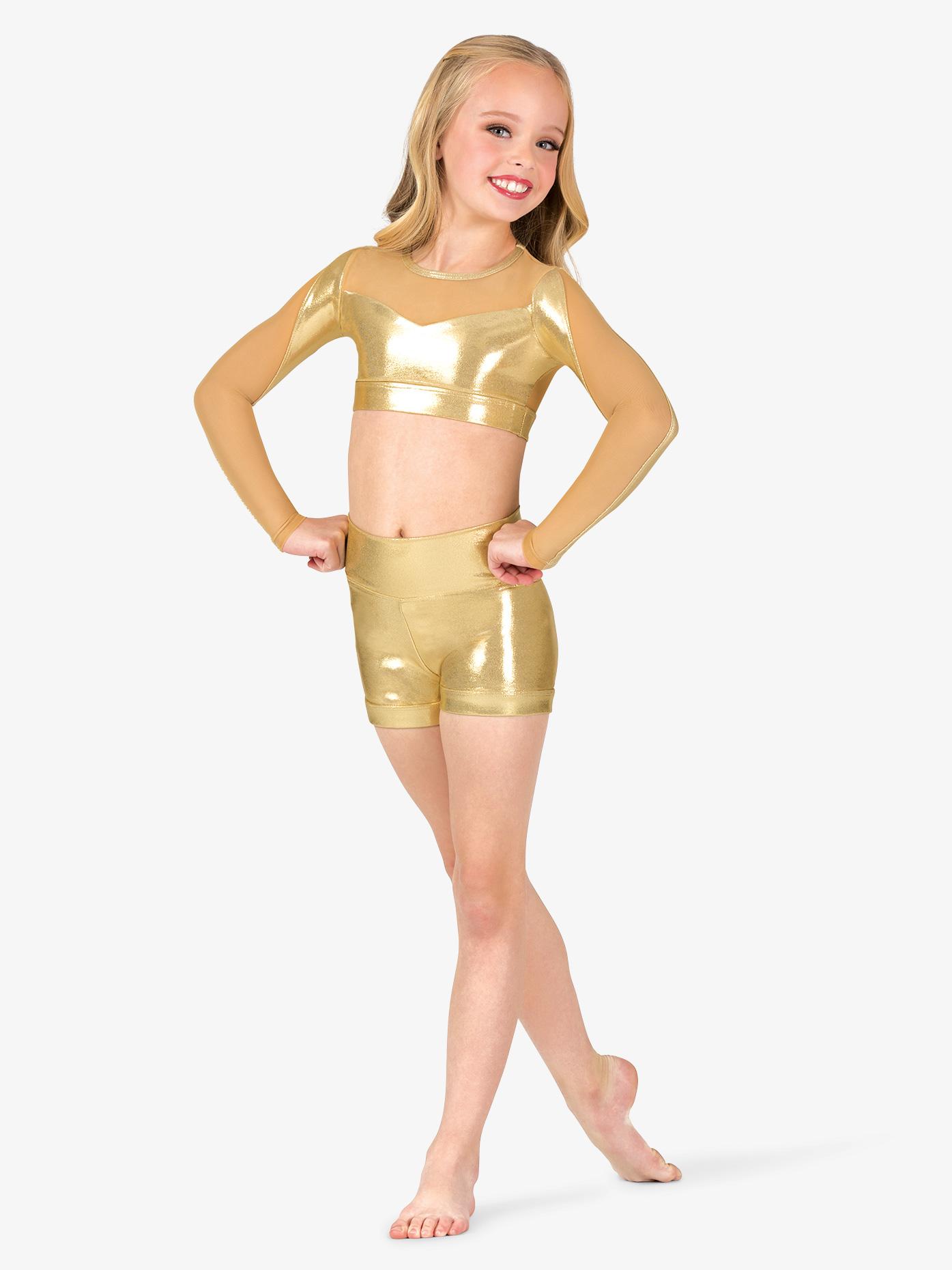 Ingenue Girls Performance Metallic High Waist Shorts ING169C