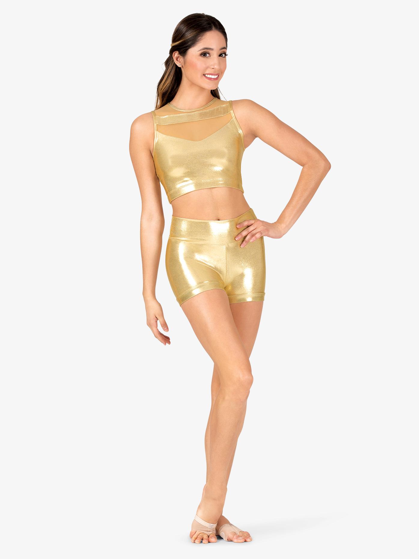 Ingenue Womens Performance Metallic High Waist Shorts ING169