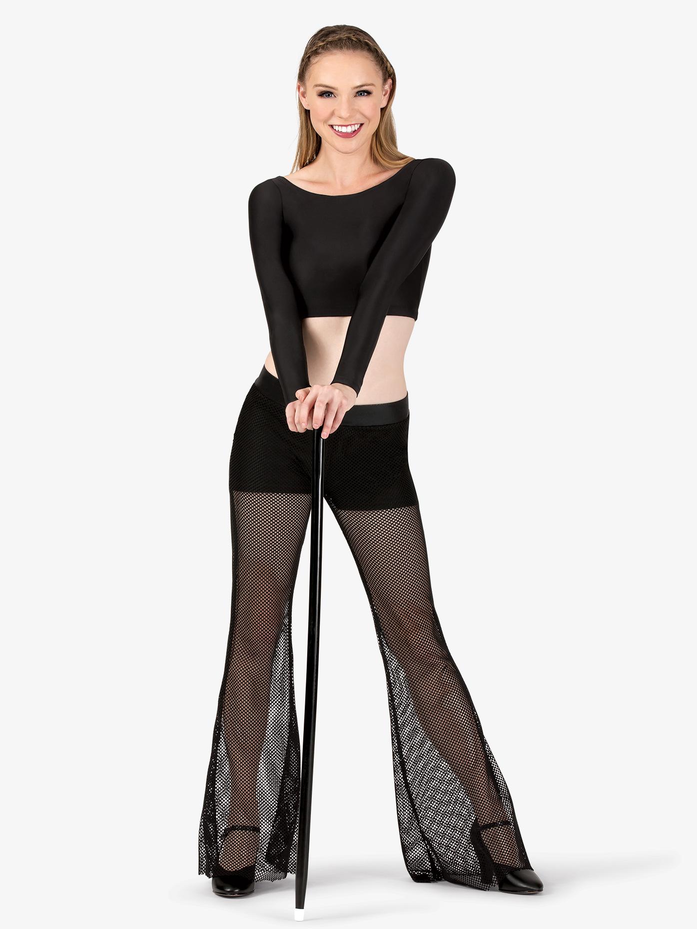 Double Platinum Womens Mesh Dance Bell Bottom Pants N7284