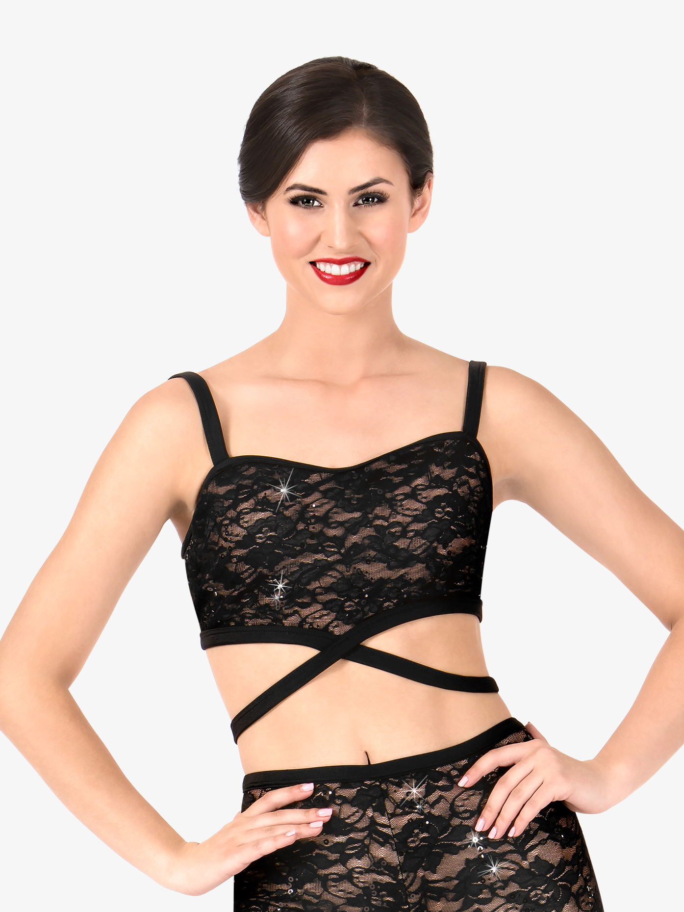 Elisse by Double Platinum Womens Crisscross Camisole Dance Bra Top N7488