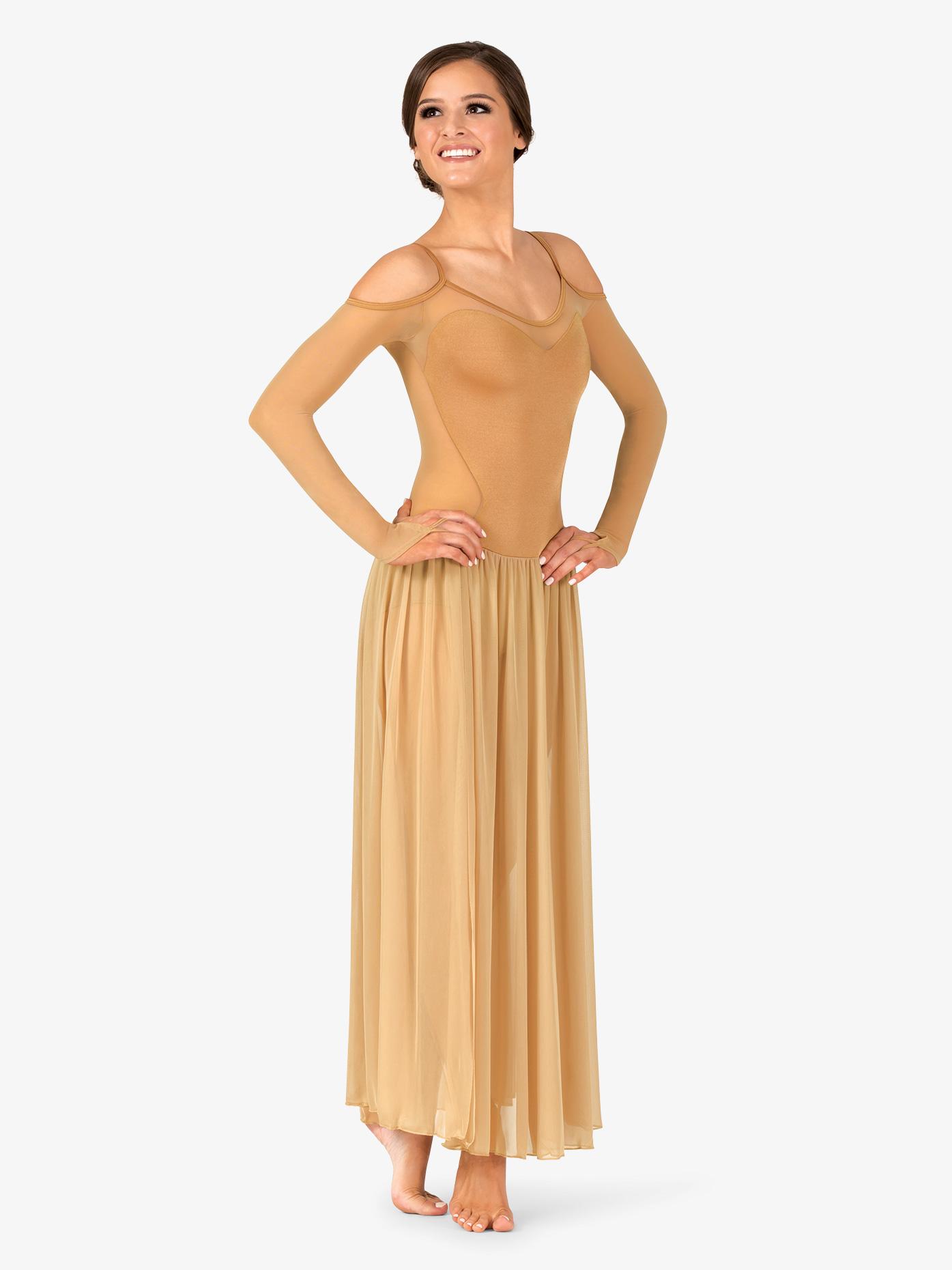 Double Platinum Womens Performance Open Shoulder Long Sleeve Dress N7700