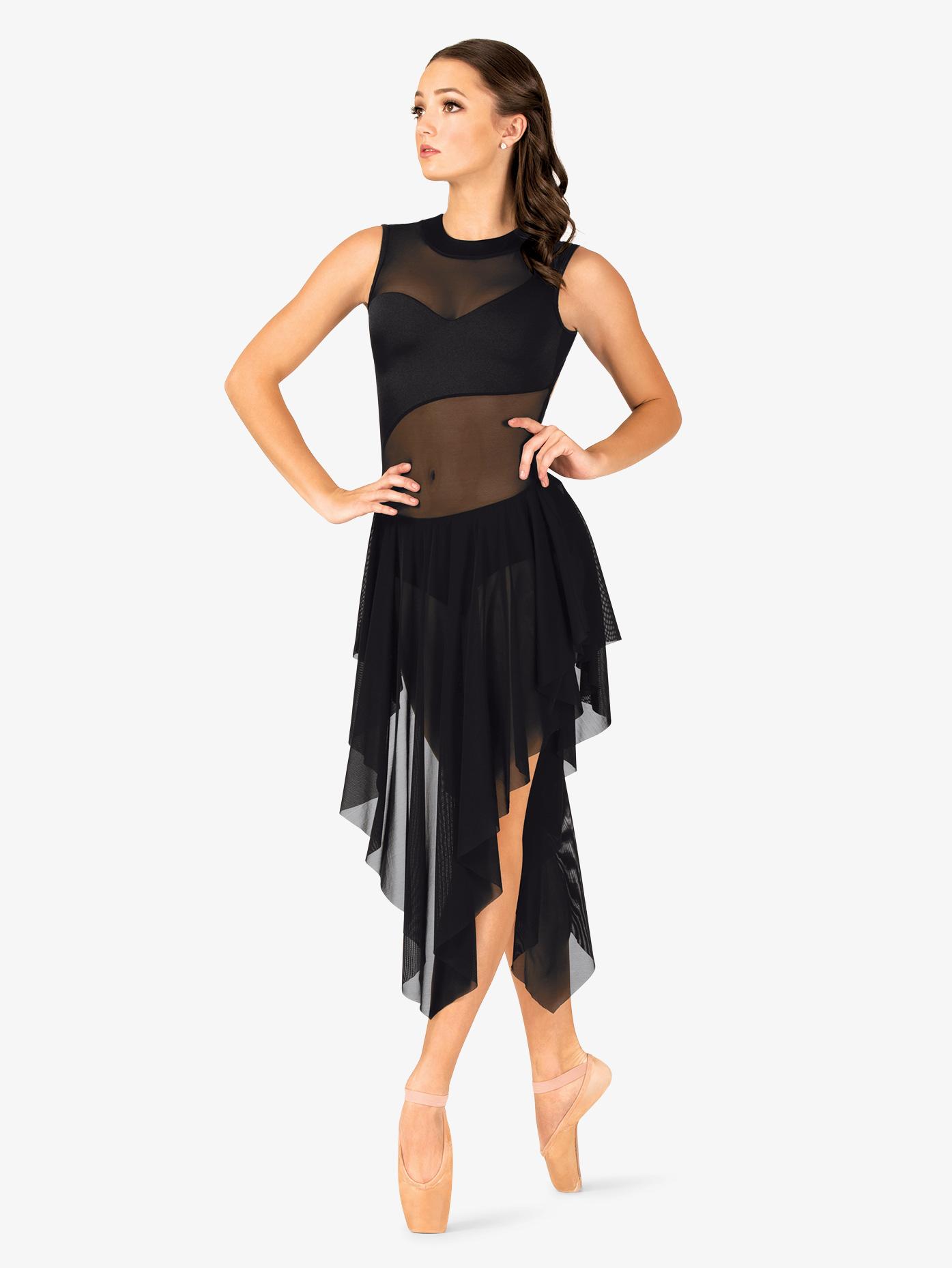 Double Platinum Womens Performance Asymmetrical Mesh Tank Dress N7705
