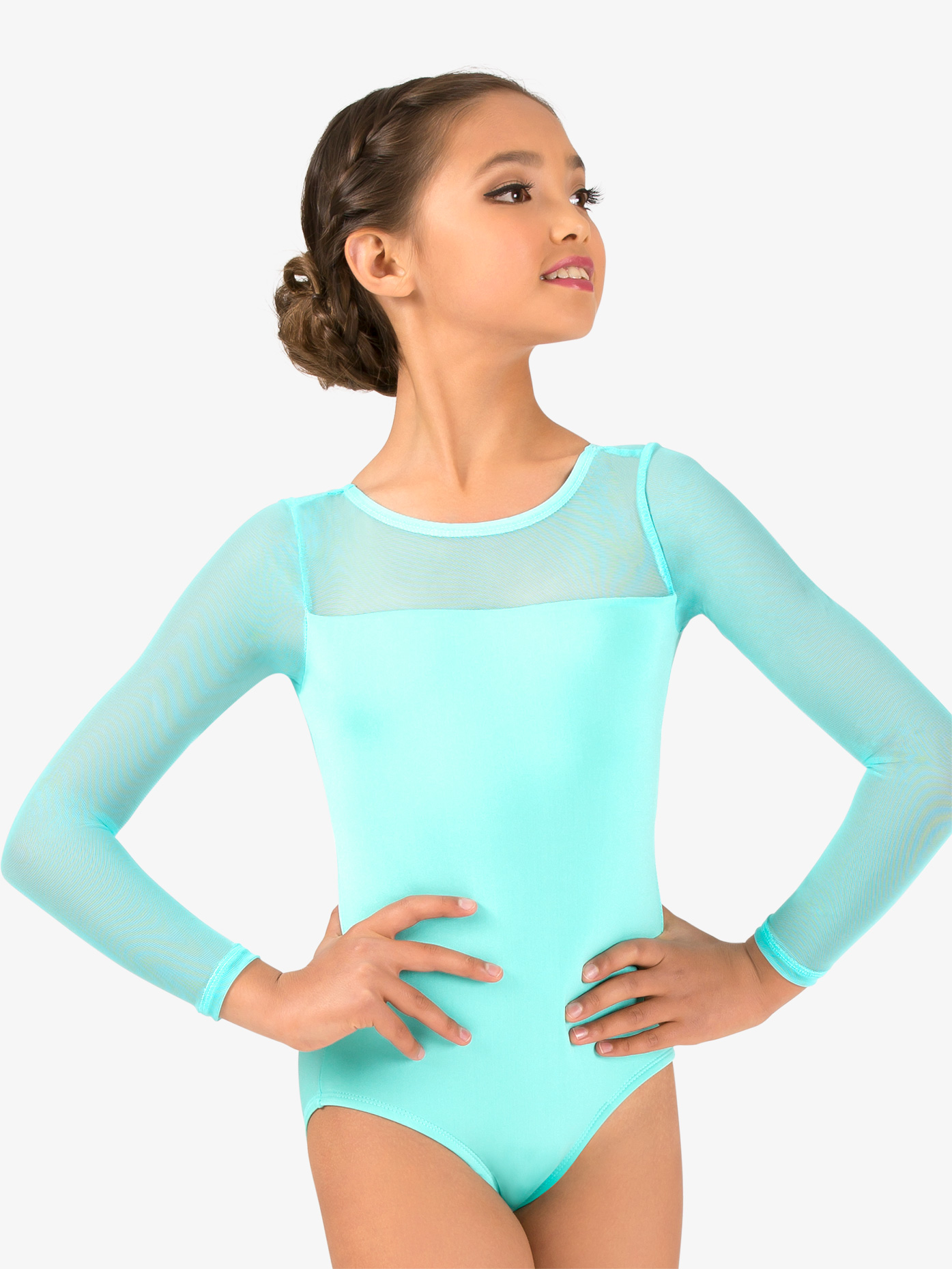 Natalie Girls Mesh Long Sleeve Leotard N9006C